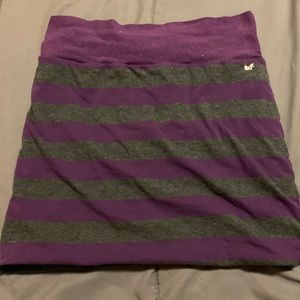 Purple and grey striped skirt